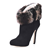 Suede Stiletto Heel Ankle Boots With Fur Party / Evening Shoes
