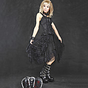 Tea-length Black Lace Cotton Gothic Lolita Skirt(Waist: 66CM-80CM)