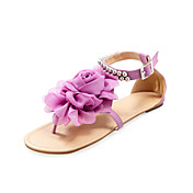 Leatherette Flat Heel Sandals / Flats With Satin Flower Beading Party &amp; Evening Shoes (More Colors Available)