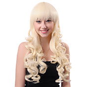 Capless Long White Curly High Quality Synthetic Japanese Kanekalon Wigs