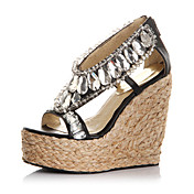 Elegant Fabric Wedge Heel Wedges With Crystal Party / Evening Shoes