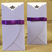 Vintage Tri-fold Wedding Invitation With Ribbon - Set of 50 (More Colors)