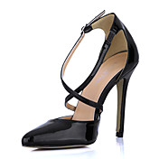 Elegant Patent Leather Stiletto Heel Pointy Toe Pumps With Buckle Party / Evening Shoes