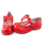 Handmade Sweet Red PU Leather 3cm Platform Cosplay Lolita Shoes