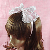 Handmade Pink Cotton White Lace 23cm Bow Sweet Lolita Headband