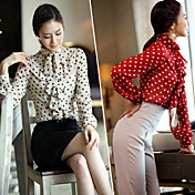 Women's Polka Dots Shirt with Ruffles