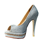 Moda couro salto agulha Peep Toe bombas com strass partido / Evening Shoes