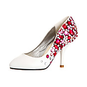 Ultra Luxurious Leatherette Upper Stiletto HeelClosed Toe With Colorful Rhinestone Wedding Shoes