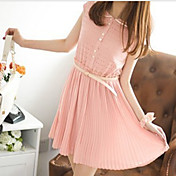 Women's Pan Collar Belted Cutouts Pleated Skirt Chiffon Dress