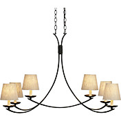 60W Contemporary Chandelier with 6 Lights and Fabric Shade