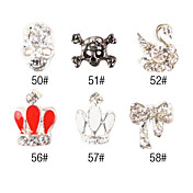 5PCS 3D Alloy Nail Decorations Diamond No.9(Assorted Color)
