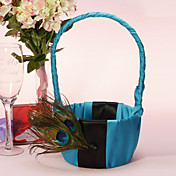 Flower Basket In Blue Satin mit Pfauenfeder