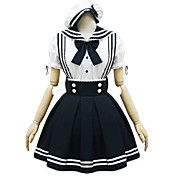 Short Sleeve Short White and Black Cotton Sailor Lolita Dress