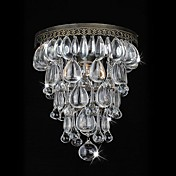 60W Antique Green Wall Lights with Crystal Beaded Pendants