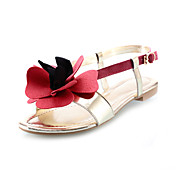 Leatherette Flat Heel Sandals With Flower Honeymoon Shoes (More Colors)