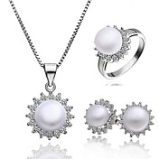 Beautiful Cuprum With Cubic Zirconia / Pearl Women's Jewelry Set Including Necklace,Earrings,Ring