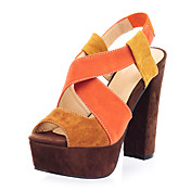 Elegante Suede Chunky Heel Sandaletten mit Split Joint Party / Abendschuhe (mehr Farben)