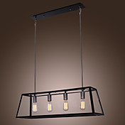 60W E27 4-light Pendent Light with Transparent Ladder Style Shade