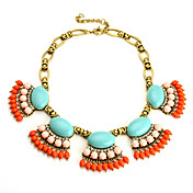Gorgeous Women's Alloy with Multicolor Resin Necklace