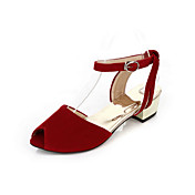 Beautiful Suede Low Heel Sandals With Buckle Party / Evening Shoes (More Colors)