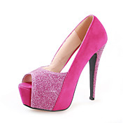 Chic Suede Stiletto Heel Peep Toe With Sparkling Glitter Party / Evening Shoes