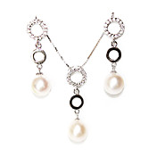 Fashion Ivory Silver Pearl Ladies' Jewelry Set Including Necklace and Earrings