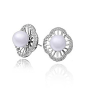 Unique Rose Gold/Platinum Plated Flower Cut Pearl Earrings(More Colors)