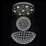 50W Moderne Crystal Pendant Light med 7 Lys og Crystal Beaded Globe Decor (GU10 Base)