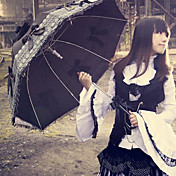 Splendida Black Bow organza White Lace Gothic Lolita Umbrella
