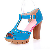 Chic Leatherette Chunky Heel Peep Toe With Buckle Party / Evening Shoes (More Colors)