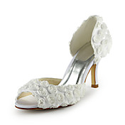 Gorgeous Satin Stiletto Heel Peep Toe With Flowers Wedding Shoes (More Colors)