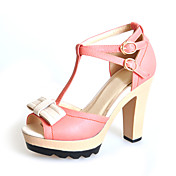 Leatherette Chunky Heel Peep Toe With Bowknot / Buckle Party / Evening Shoes (More Colors)