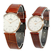 Fashion Leather Glass Round Couples' Watches (A Pair)