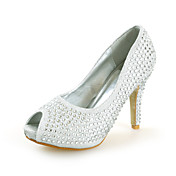 Silk Stiletto Heel Peep Toe With Rhinestone Party / Evening / Wedding Shoes (More Colors)