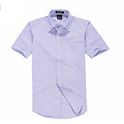 Menn Purple Sjekk Short Sleeve Cotton Shirt
