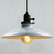 60W Contemporary Pendant Light with White Metal Plate Shade in Countryside Style