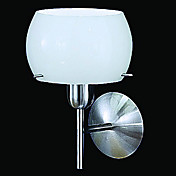 40W Chic Wall Light with Frosted Glass Drum Shade and Metal Right Angle Arm