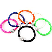 Candy Color Leather Zircon Ball Bracelet(Assorted Colors)