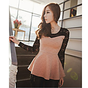 Women's Lace Splicing Peplum Shirt