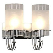 80W Modern Wall Light with 2 Cylinder Frosted Glass Shades in Polished Chrome
