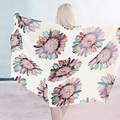 White Summer Sunflower Sarong (Lngde: 150cm Bredde: 105CM)