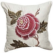 Country Floral Embroidery Decorative Pillow Cover