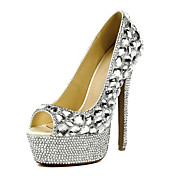 Gorgeous Patent Leather Stiletto Heel Peep Toe With Rhinestone Pumps Party / Evening Shoes