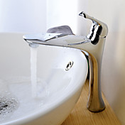 Chrome Finish Contemporary Centerset Bathroom Sink Faucets