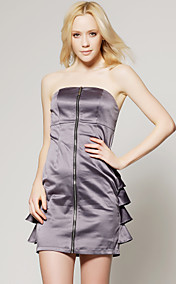 TS Silver Zippered Strapless Clubbing Dress