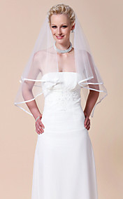 Two-tier Elbow Wedding Veil With Ribbon Edge