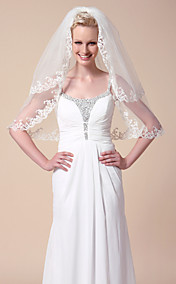 Two-tier Elbow Wedding Veils With Scalloped Edge