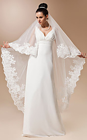 One-tier Tulle Waltz Length Veil With Applique
