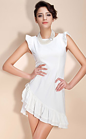 TS Puff Sleeved Irregular Hem Dress