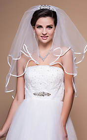 Two-tier Elbow Wedding Veil With Ribbon/Finished Edge
